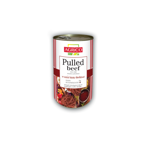 AGRiCO Pulled Beef w sosie texas-barbecue (pikantny) 1250g
