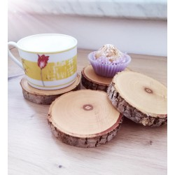 Anielskie Rękodzieła Cup Coaster made of a slice of wood 1 pc.