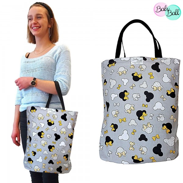 Baby Ball Torba na zakupy bawełniana eko shopperka – żółte kokardki (Myszka Minnie)