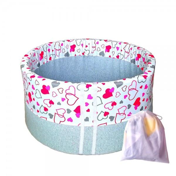 Baby Ball Pokrowiec na okrągły suchy basen 90×40 cm –różowe serduszka