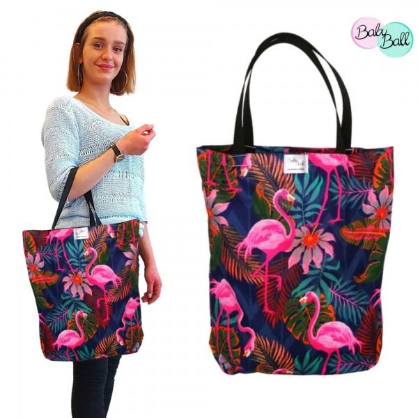 Baby Ball Torba na zakupy bawełniana eko – Różowe flamingi