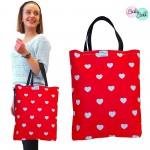 Baby Ball Torba na zakupy bawełniana eko shopperka – serca na czerwonym tle