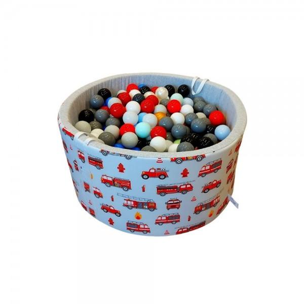 Baby Ball Suchy basen z kulkami okrągły 90×40 cm /Wozy strażackie/kulki-400