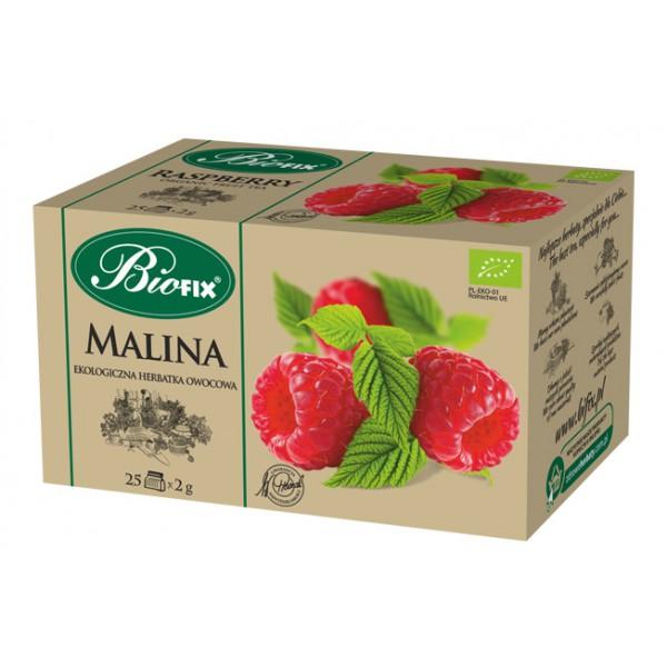 Bi FIX MALINA Herbatka owocowa ekologiczna ekspresowa BIOFIX 25 x 2 g