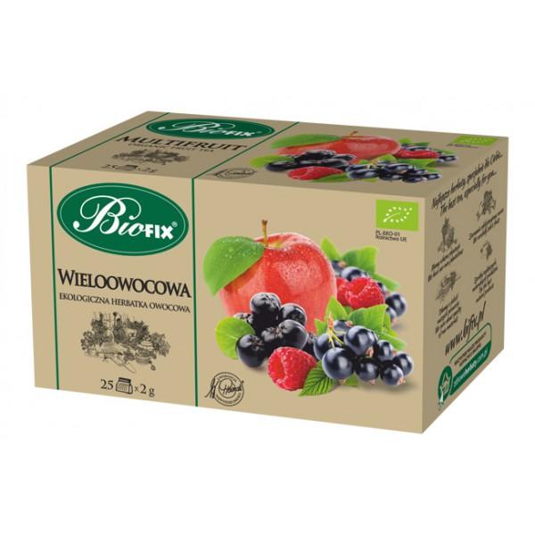 Bi FIX WIELOOWOCOWA Herbatka owocowa ekologiczna ekspresowa BIOFIX 25 x 2 g