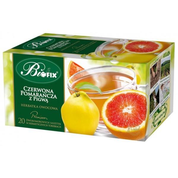 Bi FIX Premium CZERWONA POMARAŃCZA Z PIGWĄ Herbatka owocowa ekspresowa 20 x 2 g