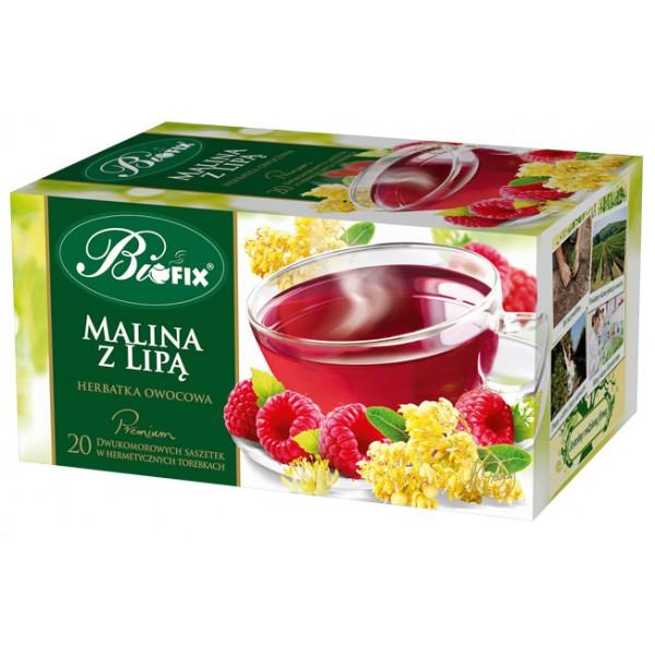 Bi FIX Premium MALINA Z LIPĄ Herbatka owocowa ekspresowa 20 x 2 g