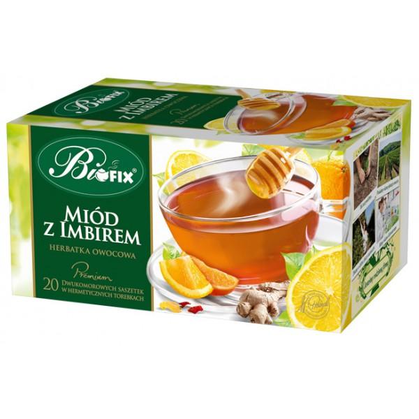 Bi FIX Premium MIODOWO – IMBIROWA Herbatka owocowa ekspresowa 20 x 2 g