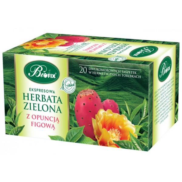 Bi FIX Premium ZIELONA Z OPUNCJĄ FIGOWĄ Herbata ekspresowa 20 x 2 g