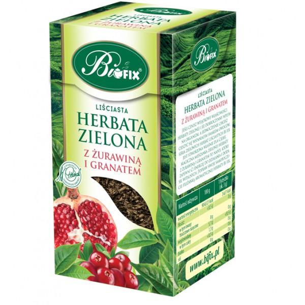 Bi FIX ZIELONA Z ŻURAWINĄ I GRANATEM Herbata liściasta 100 g