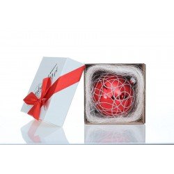 Bombeczka.pl Gift red bauble GIFT 10 cm - silver weave