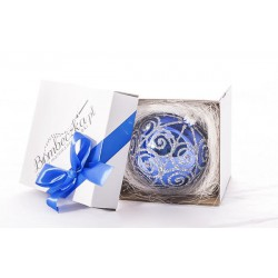 Bombeczka.pl Blue bauble, hand-decorated for a gift, 10 cm - silver serpentine