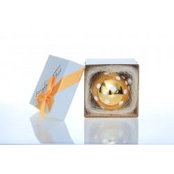 Bombeczka.pl Gold bauble, hand-decorated for a gift, 10 cm - dot