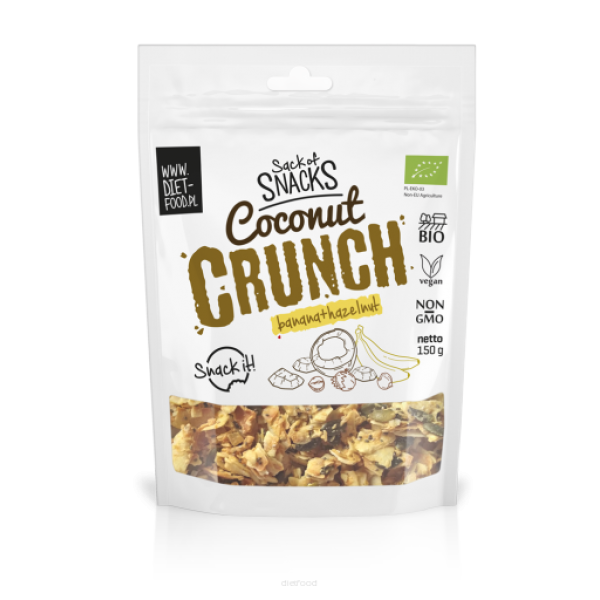 Diet-Food Bio kokosowy crunch - banan + orzech laskowy 150g