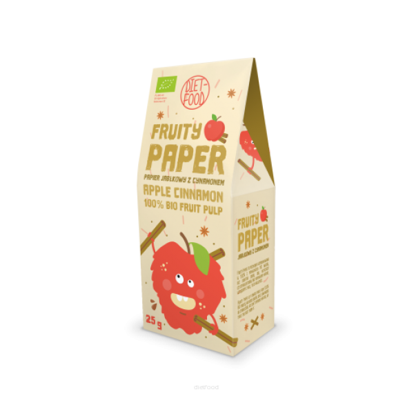Diet-Food Bio Papier owocowy - jabłko + cynamon 25g