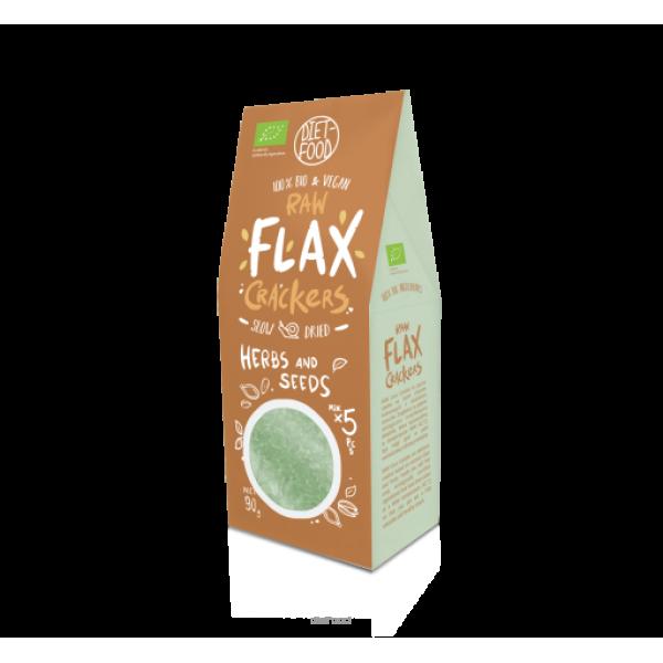 Diet-Food Bio krakersy z siemienia lnianego z ziarnami i ziołami 90 g