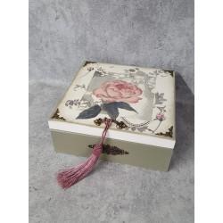Grażka Art Wooden casket with a rose