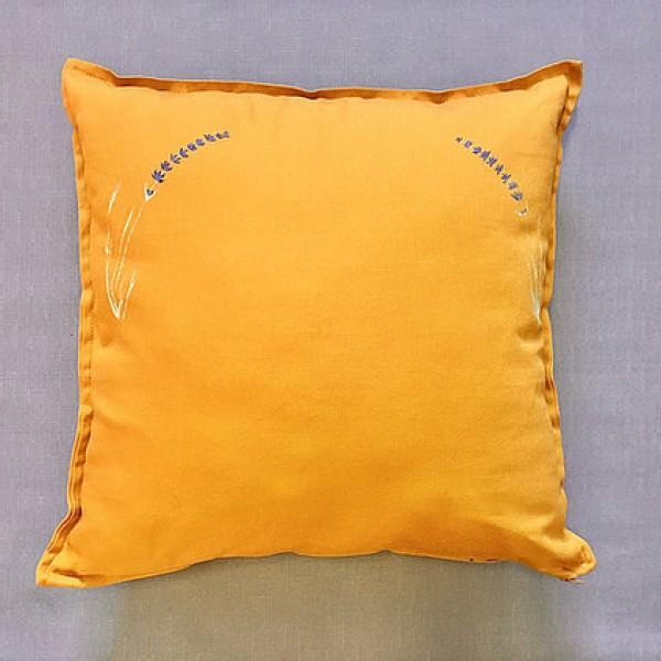 Lawendowy Ląd Hand-painted decorative cushion with a lavender motif orange