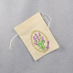 Lawendowy Ląd Embroidered cotton bag small