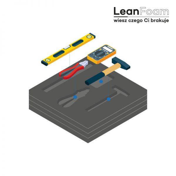 LeanCraft Pianka grafitowa 355×270 mm do skrzynek Makita i Festool