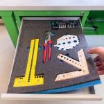 LeanCraft Pianka grafitowo-niebieska 580×480 mm do szuflad i wózków