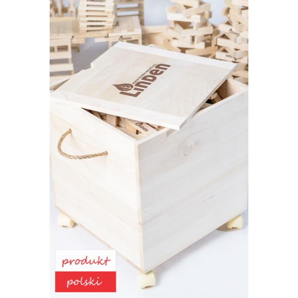 Linden Klocki Zestaw 1000 szt. klocków w drewnianej skrzyni