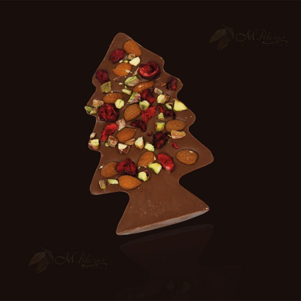 M.Pelczar Milk chocolate Christmas tree with almonds, pistachios and cherries 130g