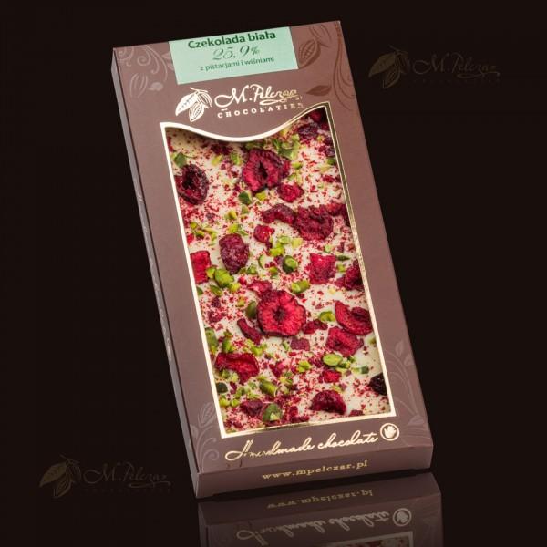 M.Pelczar Czekolada biała 25,9% z pistacjami i wiśniami