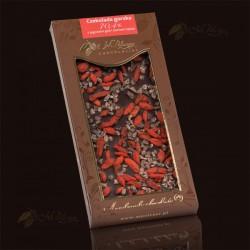 M.Pelczar Czekolada gorzka 70,4% z jagodami goji i ziarnem kakao