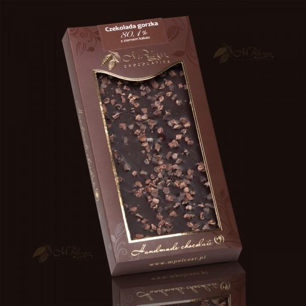 M.Pelczar Czekolada gorzka 80,1% z ziarnem kakao