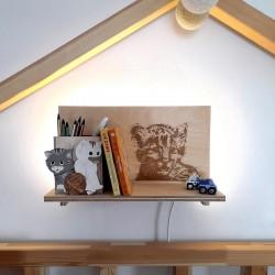 Makuto Art Półka do pokoju dziecka z Tygryskiem- podświetlana
