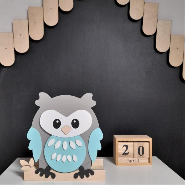 Makuto Art Organizer na biurko drewniany Sowa Mięta XL
