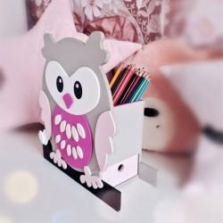 Makuto Art Organizer na biurko drewniany Sowa Różowa XL