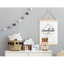 Makuto Art Organizer na biurko drewniany Sowa biały M