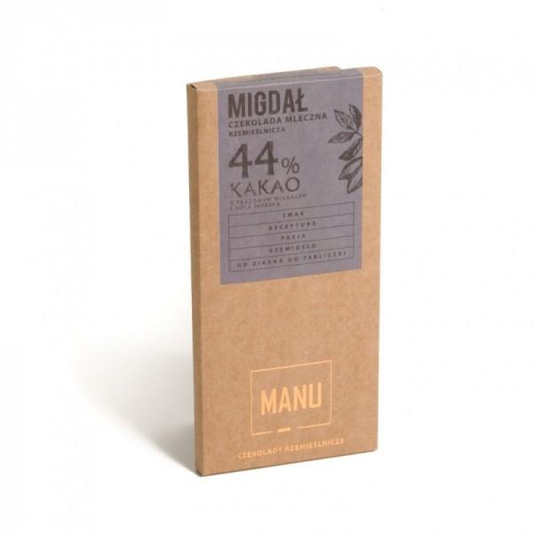 Manufaktura Czekolady Migdały z cynamonem w mlecznej czekoladzie 44% - 80g