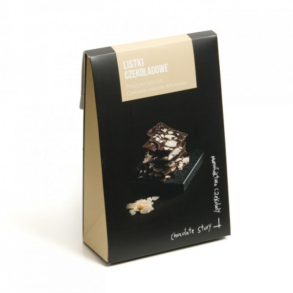 Manufaktura Czekolady Listki czekoladowe z migdałem 44% kakao 80g