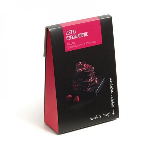 Manufaktura Czekolady Listki czekoladowe z maliną 70% kakao 80g