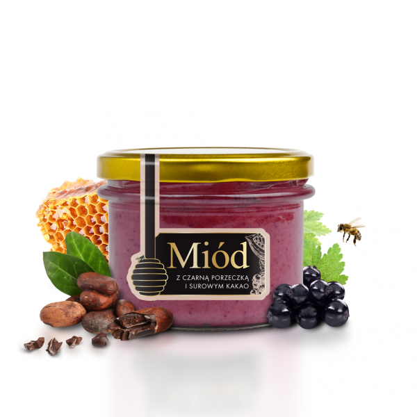 Miodowy Ogród HONEY WITH BLACK CURRANT AND RAW COCOA 250g