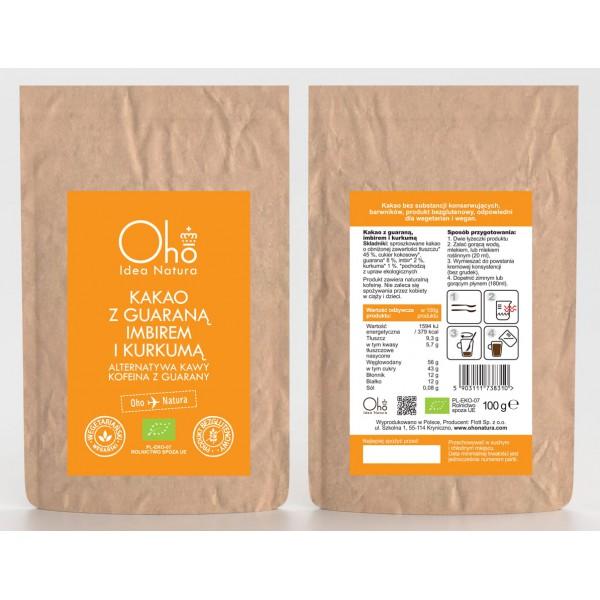 Oho Natura Kakao z guaraną, imbirem i kurkumą 100g