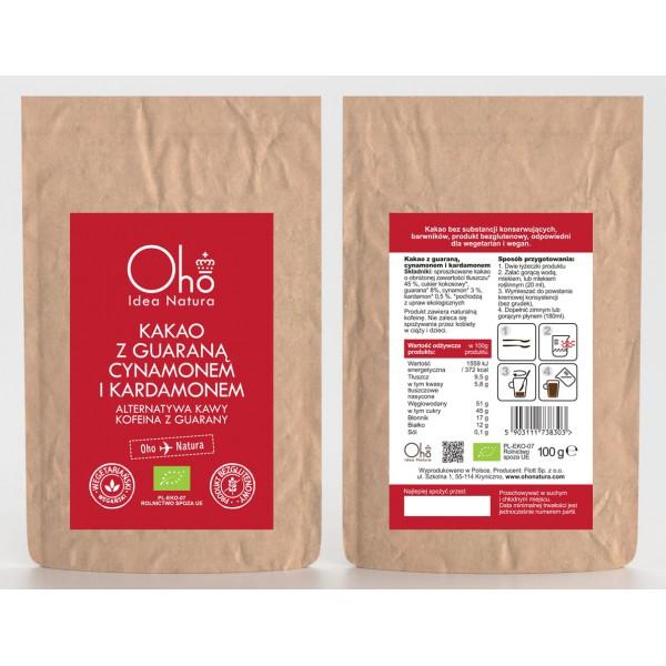 Oho Natura Kakao z guaraną, cynamonem i kardamonem 100g