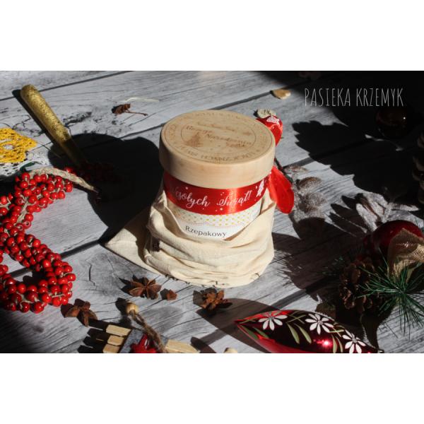 Pasieka Krzemyk Miód 700g z drewnianym wieczkiem + grawer + woreczek
