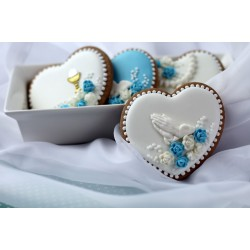 Pracownia Fantazja Heart - Hands on a white background and blue flowers (minimum order 10 pcs.)