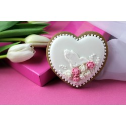 Pracownia Fantazja Heart with palms on a white background, pink flowers (minimum order 10 pcs.)