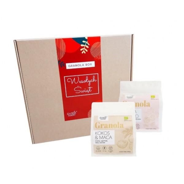 Pure&Sweet Granola Box Świąteczny Mały, Prezent Na Święta 2x200g