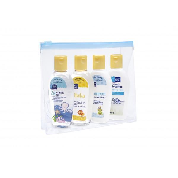 Skarb Matki Zestaw: 1x Oliwka 80 ml; 1x Mydełko 80 ml.; 1x Szampon 80 ml; 1x żel do mycia rąk 80 ml + kosmetyczka