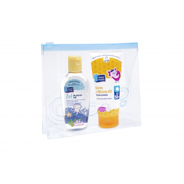 Skarb Matki Zestaw: 1x krem z filterm UV SPF 50+ 1x żel do mycia rąk 80 ml + kosmetyczka