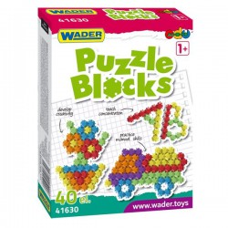 WADER PUZZLE BLOCKS IN A CARTON OF 40 ELEMENTS.