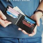 """Wildleather Składany portfel z naturalnej skóry w kolorze czarnym - model """"Poziomy"""""""