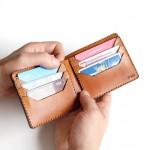 """Wildleather Składany portfel z naturalnej skóry w kolorze koniakowym - model """"Poziomy"""""""