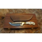 Ztefan Damascus steel knife NM-012 set with an exotic wood box